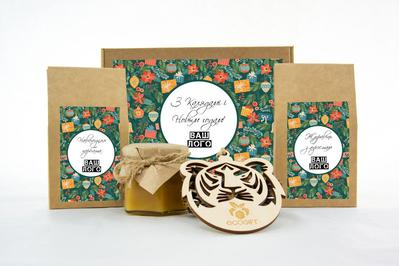 Бизнес-подарок на Новый год с клюквой, чаем и медом. Арт: te34_006