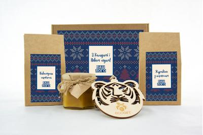 Оригинальный подарок клиентам с клюквой, чаем и медом. Арт: te34_007