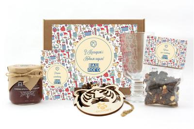 Подарочные наборы для клюквенного глинтвейна сотрудникам на Новый год. Арт: gl12_016