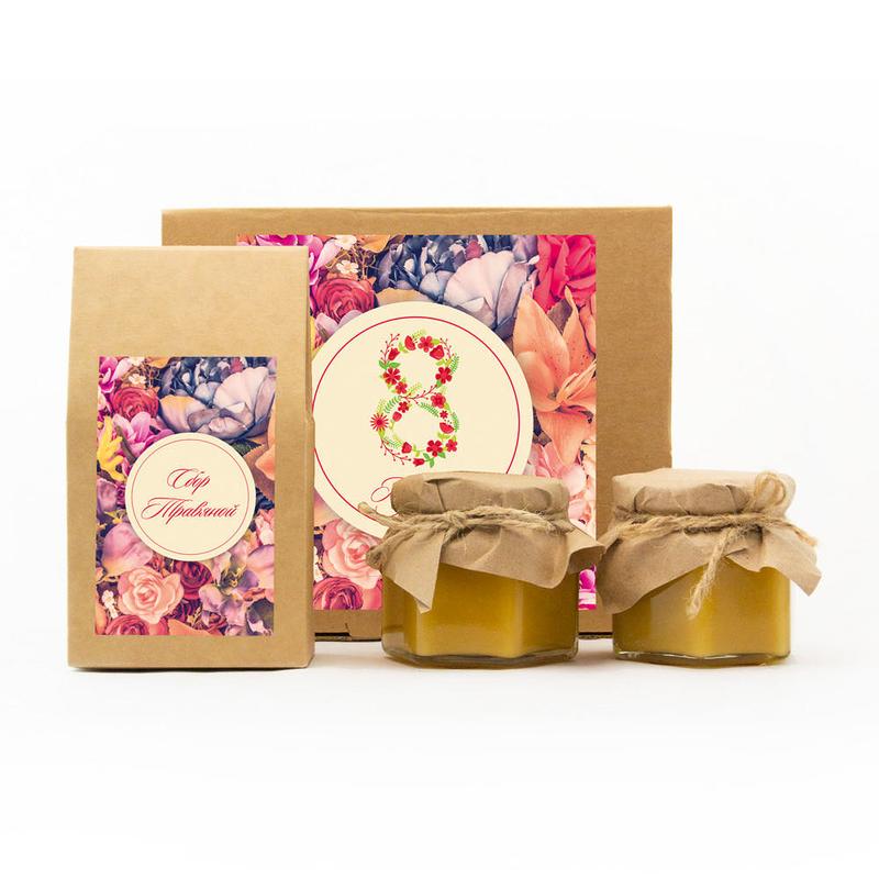 Набор «8 марта» с чаем и двумя баночками меда